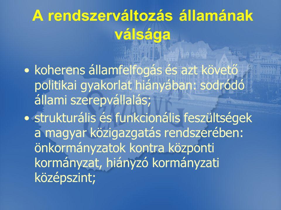 A rendszerváltozás államának válsága koherens államfelfogás és azt követő politikai gyakorlat hiányában: sodródó állami szerepvállalás; strukturális és funkcionális feszültségek a magyar közigazgatás rendszerében: önkormányzatok kontra központi kormányzat, hiányzó kormányzati középszint;