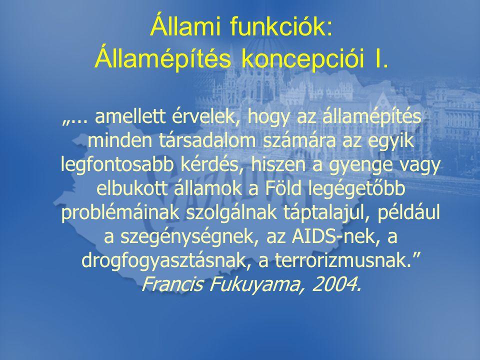 Állami funkciók: Államépítés koncepciói II.
