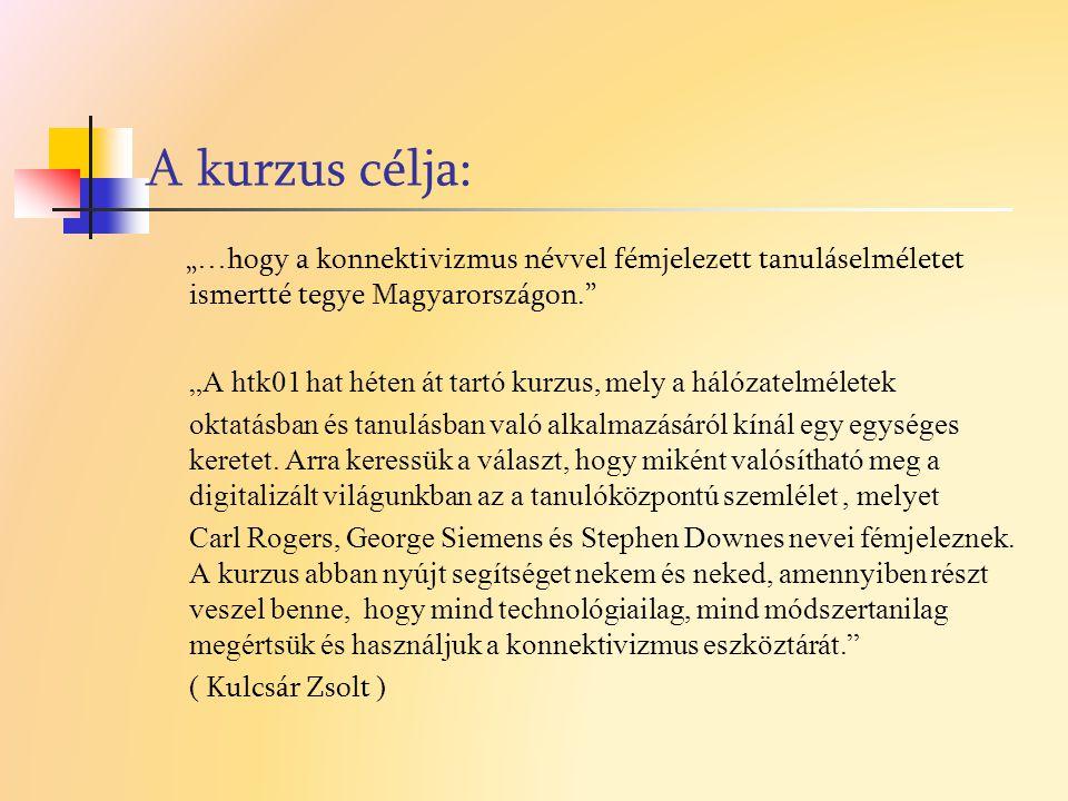 """A kurzus célja: """"…hogy a konnektivizmus névvel fémjelezett tanuláselméletet ismertté tegye Magyarországon."""" """"A htk01 hat héten át tartó kurzus, mely a"""