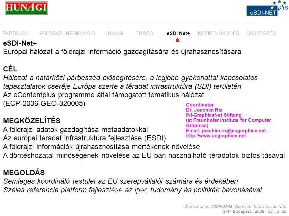 eContentplus 2005-2008 Nemzeti Információs Nap GKM Budapest, 2008. április 25 eSDI-Net+ Európai hálózat a földrajzi információ gazdagítására és újraha