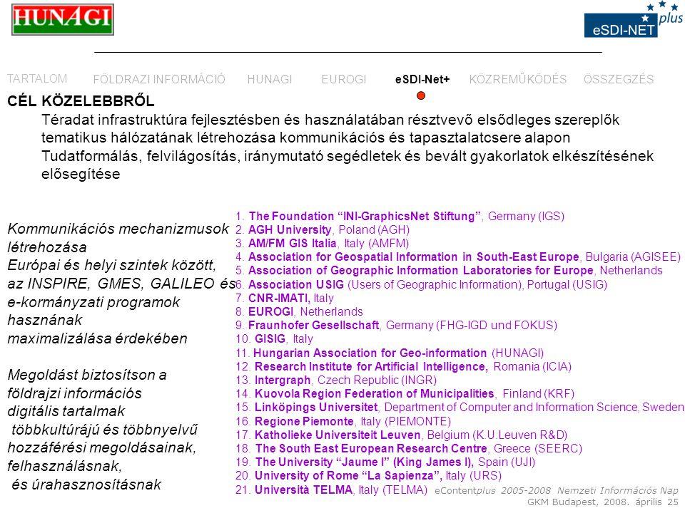 eContentplus 2005-2008 Nemzeti Információs Nap GKM Budapest, 2008. április 25 CÉL KÖZELEBBRŐL Téradat infrastruktúra fejlesztésben és használatában ré