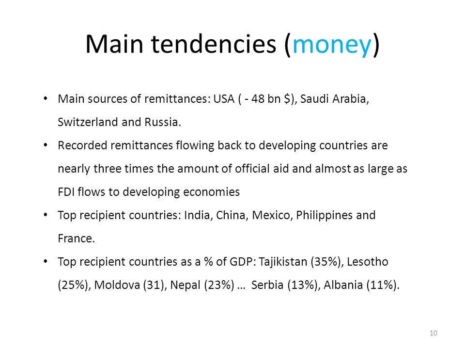 Main tendencies (money) Main sources of remittances: USA ( - 48 bn $), Saudi Arabia, Switzerland and Russia. Recorded remittances flowing back to deve