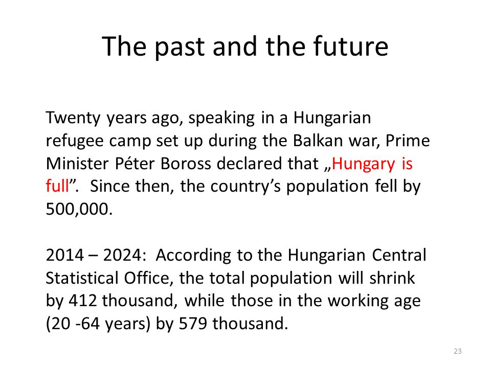 The past and the future 23 Twenty years ago, speaking in a Hungarian refugee camp set up during the Balkan war, Prime Minister Péter Boross declared t