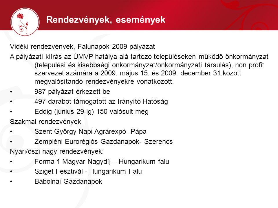 Vidéki rendezvények, Falunapok 2009 pályázat A pályázati kiírás az ÚMVP hatálya alá tartozó településeken működő önkormányzat (települési és kisebbség