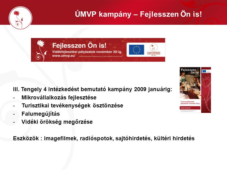 III. Tengely 4 intézkedést bemutató kampány 2009 januárig: -Mikrovállalkozás fejlesztése -Turisztikai tevékenységek ösztönzése -Falumegújítás -Vidéki