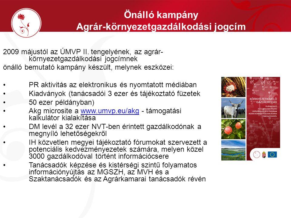 2009 májustól az ÚMVP II. tengelyének, az agrár- környezetgazdálkodási jogcímnek önálló bemutató kampány készült, melynek eszközei: PR aktivitás az el