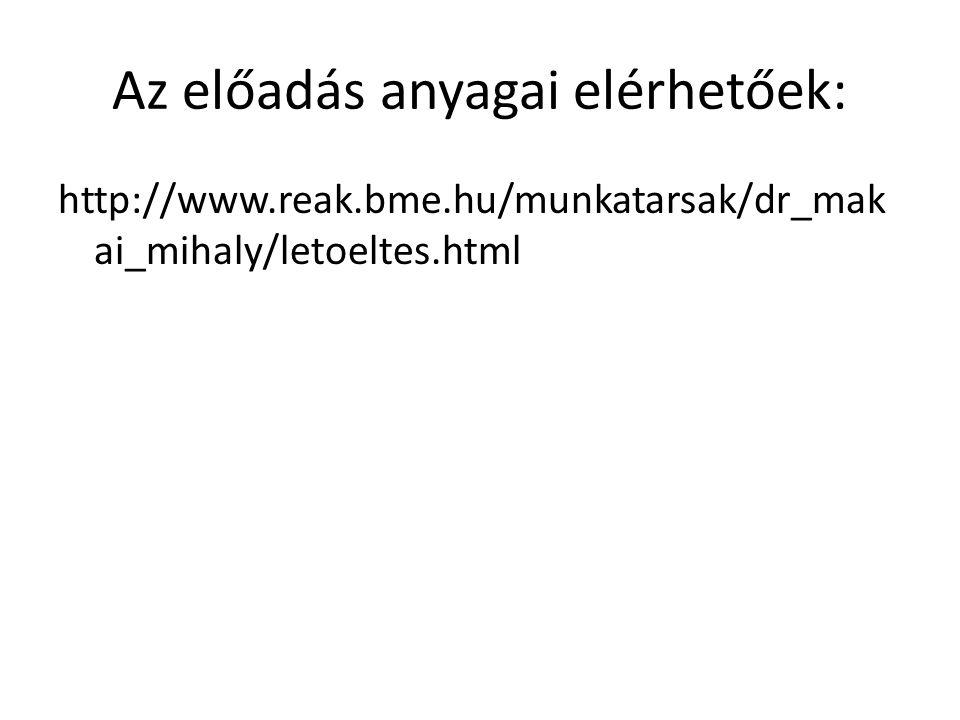 Az előadás anyagai elérhetőek: http://www.reak.bme.hu/munkatarsak/dr_mak ai_mihaly/letoeltes.html