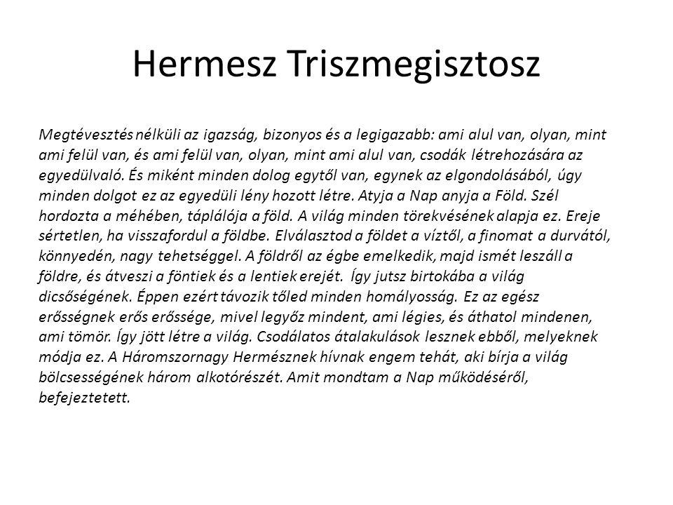 Hermesz Triszmegisztosz Megtévesztés nélküli az igazság, bizonyos és a legigazabb: ami alul van, olyan, mint ami felül van, és ami felül van, olyan, mint ami alul van, csodák létrehozására az egyedülvaló.