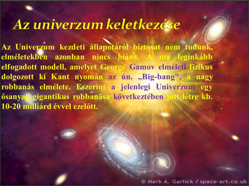 Az Univerzum kezdeti állapotáról biztosat nem tudunk, elméletekben azonban nincs hiány. A ma leginkább elfogadott modell, amelyet George Gamov elmélet