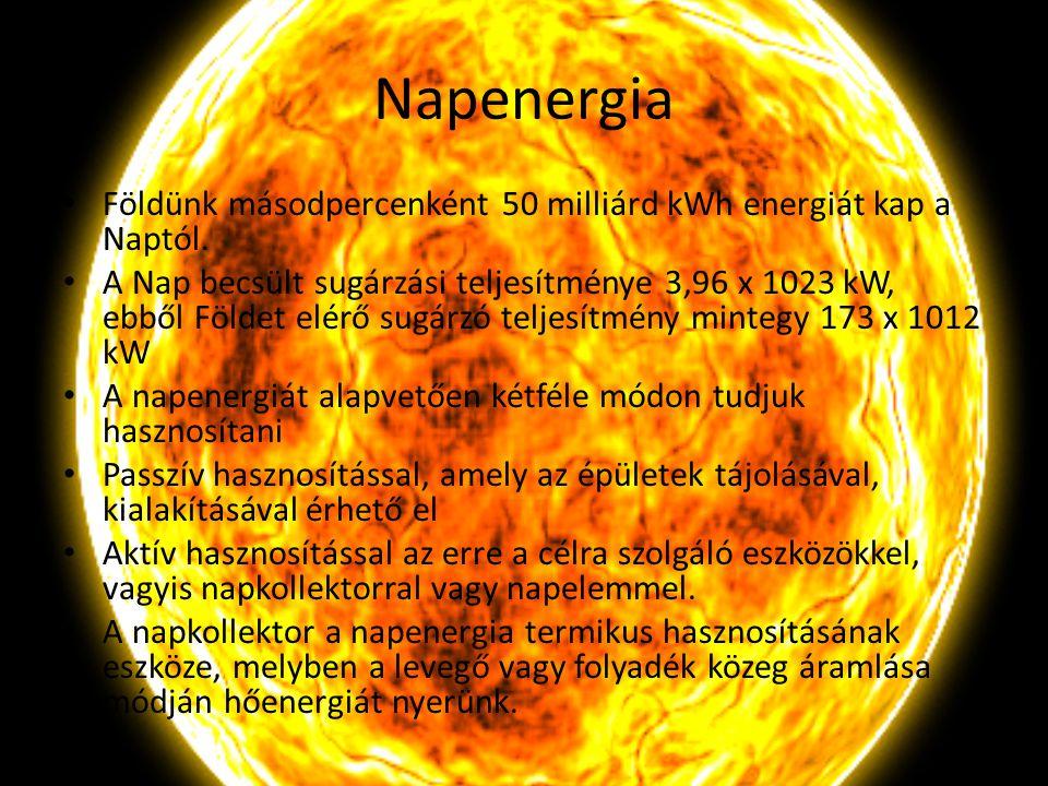 Napenergia Földünk másodpercenként 50 milliárd kWh energiát kap a Naptól. A Nap becsült sugárzási teljesítménye 3,96 x 1023 kW, ebből Földet elérő sug