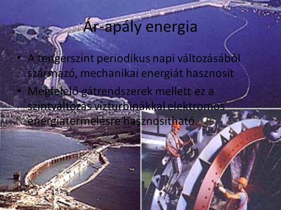 Ár-apály energia A tengerszint periodikus napi változásából származó, mechanikai energiát hasznosít Megfelelő gátrendszerek mellett ez a szintváltozás