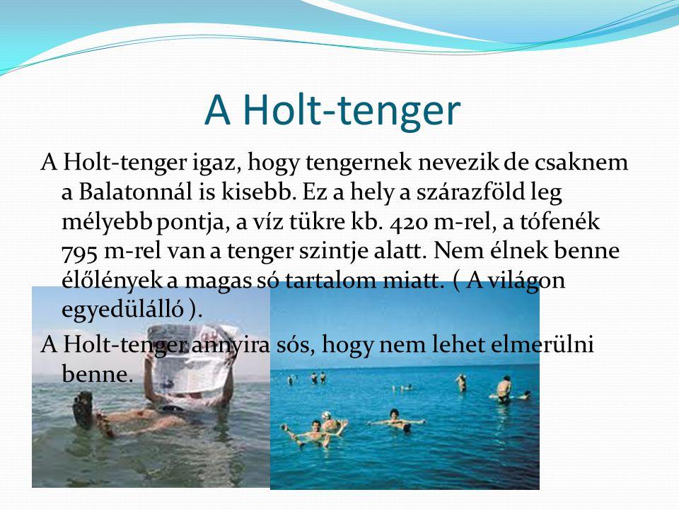 A Holt-tenger A Holt-tenger igaz, hogy tengernek nevezik de csaknem a Balatonnál is kisebb.