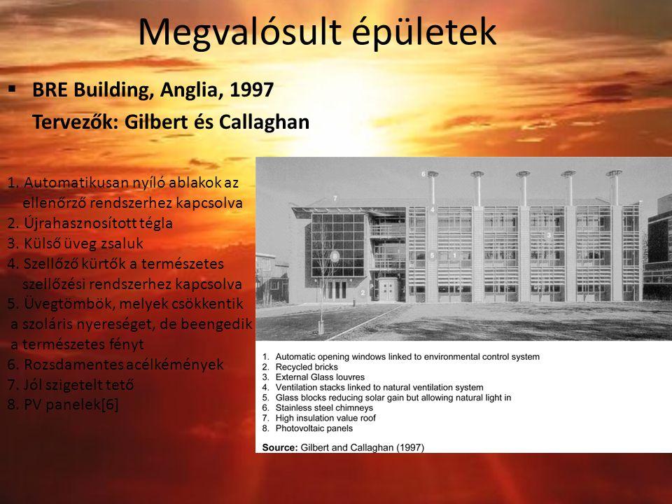 Megvalósult épületek  BRE Building, Anglia, 1997 Tervezők: Gilbert és Callaghan 1. Automatikusan nyíló ablakok az ellenőrző rendszerhez kapcsolva 2.