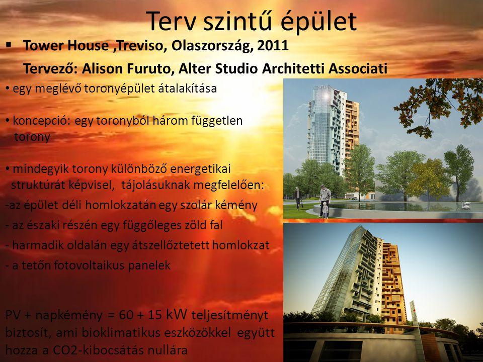 Terv szintű épület  Tower House,Treviso, Olaszország, 2011 Tervező: Alison Furuto, Alter Studio Architetti Associati egy meglévő toronyépület átalakítása koncepció: egy toronyból három független torony mindegyik torony különböző energetikai struktúrát képvisel, tájolásuknak megfelelően: -az épület déli homlokzatán egy szolár kémény - az északi részén egy függőleges zöld fal - harmadik oldalán egy átszellőztetett homlokzat - a tetőn fotovoltaikus panelek PV + napkémény = 60 + 15 kW teljesítményt biztosít, ami bioklimatikus eszközökkel együtt hozza a CO2-kibocsátás nullára