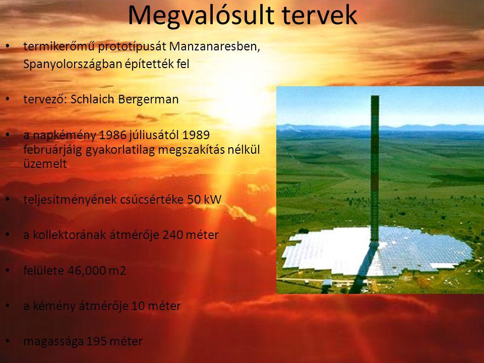 Megvalósult tervek termikerőmű prototípusát Manzanaresben, Spanyolországban építették fel tervező: Schlaich Bergerman a napkémény 1986 júliusától 1989 februárjáig gyakorlatilag megszakítás nélkül üzemelt teljesítményének csúcsértéke 50 kW a kollektorának átmérője 240 méter felülete 46,000 m2 a kémény átmérője 10 méter magassága 195 méter