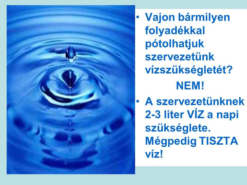 Vajon bármilyen folyadékkal pótolhatjuk szervezetünk vízszükségletét.