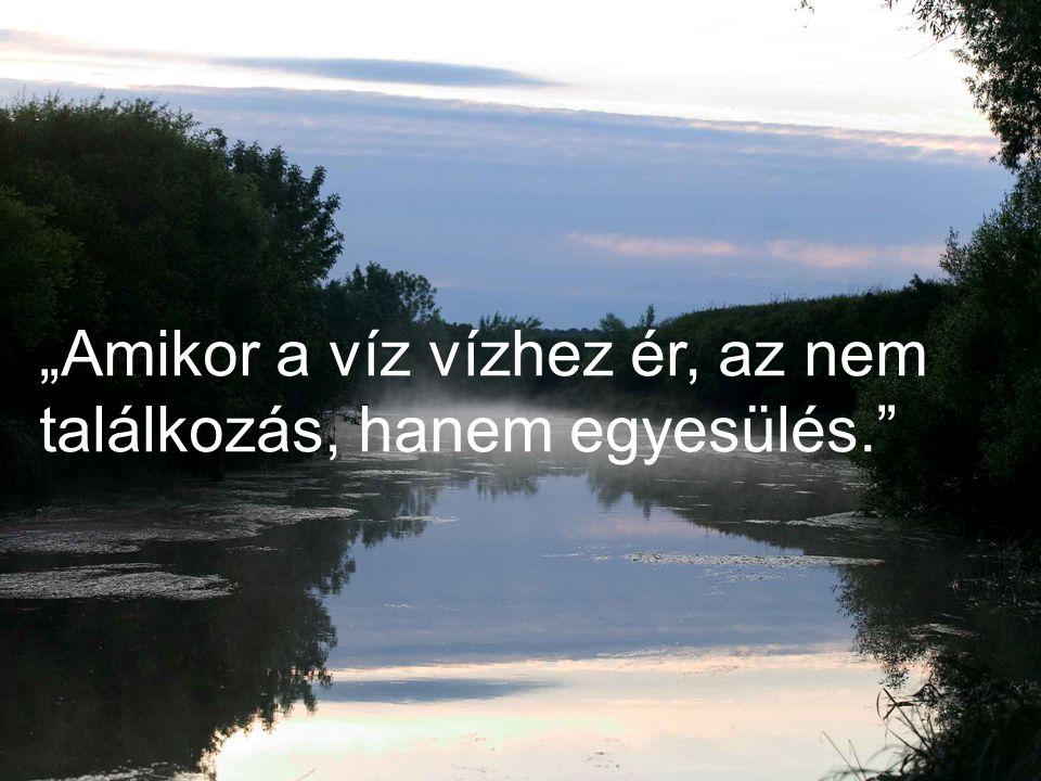 """""""Amikor a víz vízhez ér, az nem találkozás, hanem egyesülés."""