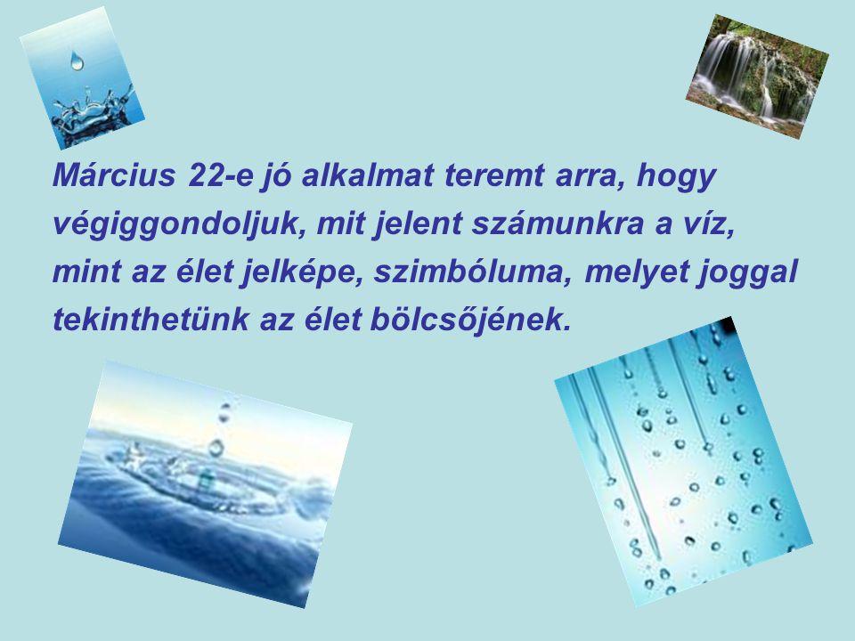 Március 22-e jó alkalmat teremt arra, hogy végiggondoljuk, mit jelent számunkra a víz, mint az élet jelképe, szimbóluma, melyet joggal tekinthetünk az élet bölcsőjének.