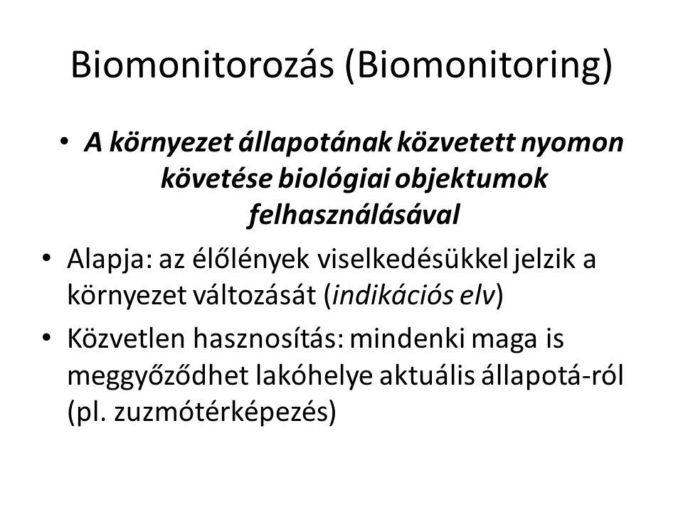 Biomonitorozás (Biomonitoring) A környezet állapotának közvetett nyomon követése biológiai objektumok felhasználásával Alapja: az élőlények viselkedés