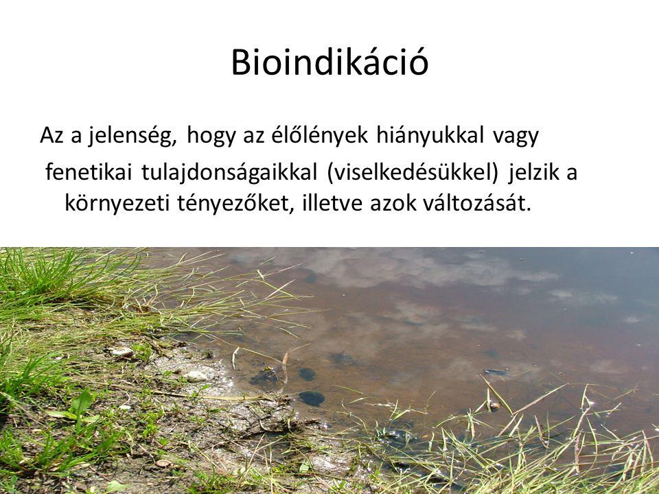 Bioindikáció Az a jelenség, hogy az élőlények hiányukkal vagy fenetikai tulajdonságaikkal (viselkedésükkel) jelzik a környezeti tényezőket, illetve az