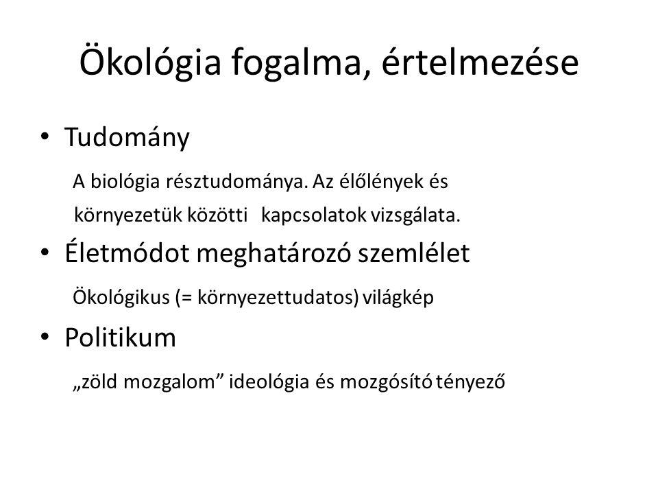 Ökológia fogalma, értelmezése Tudomány A biológia résztudománya. Az élőlények és környezetük közötti kapcsolatok vizsgálata. Életmódot meghatározó sze