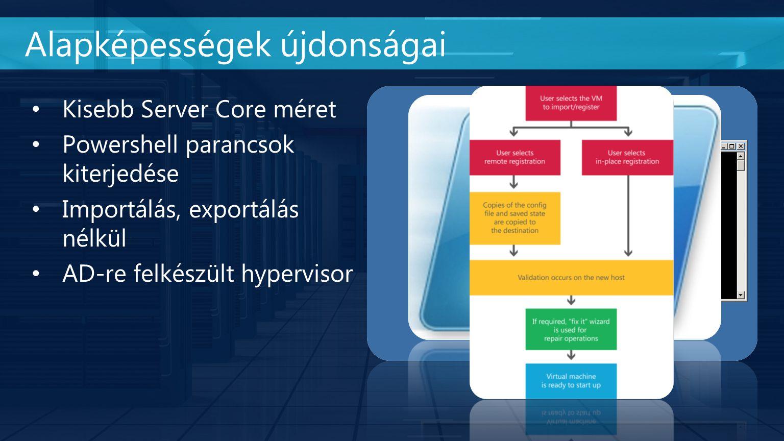 Alapképességek újdonságai Kisebb Server Core méret Powershell parancsok kiterjedése Importálás, exportálás nélkül AD-re felkészült hypervisor