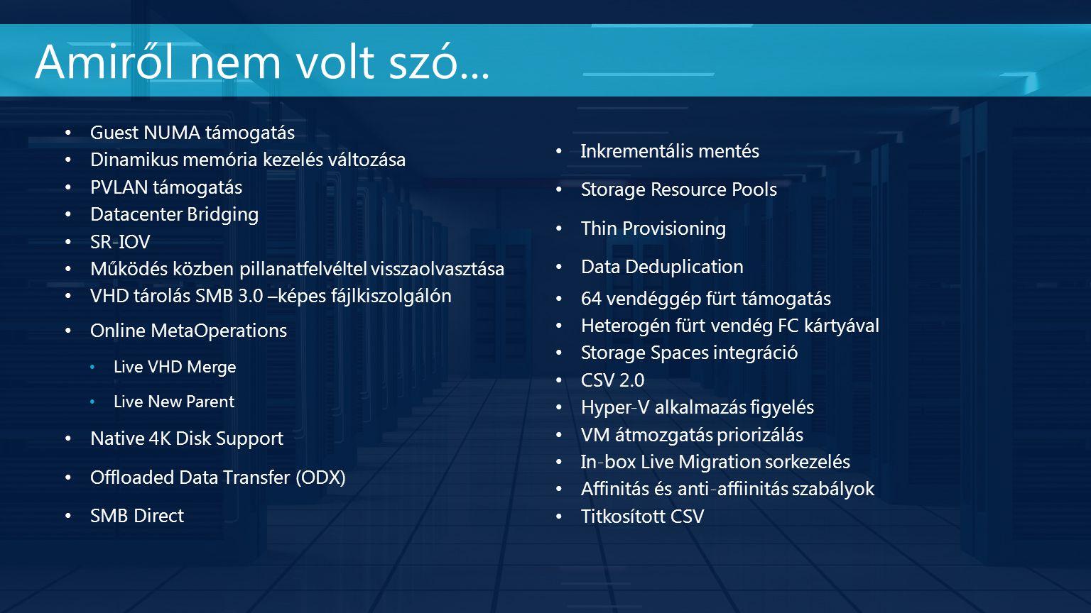 Guest NUMA támogatás Dinamikus memória kezelés változása PVLAN támogatás Datacenter Bridging SR-IOV Működés közben pillanatfelvéltel visszaolvasztása