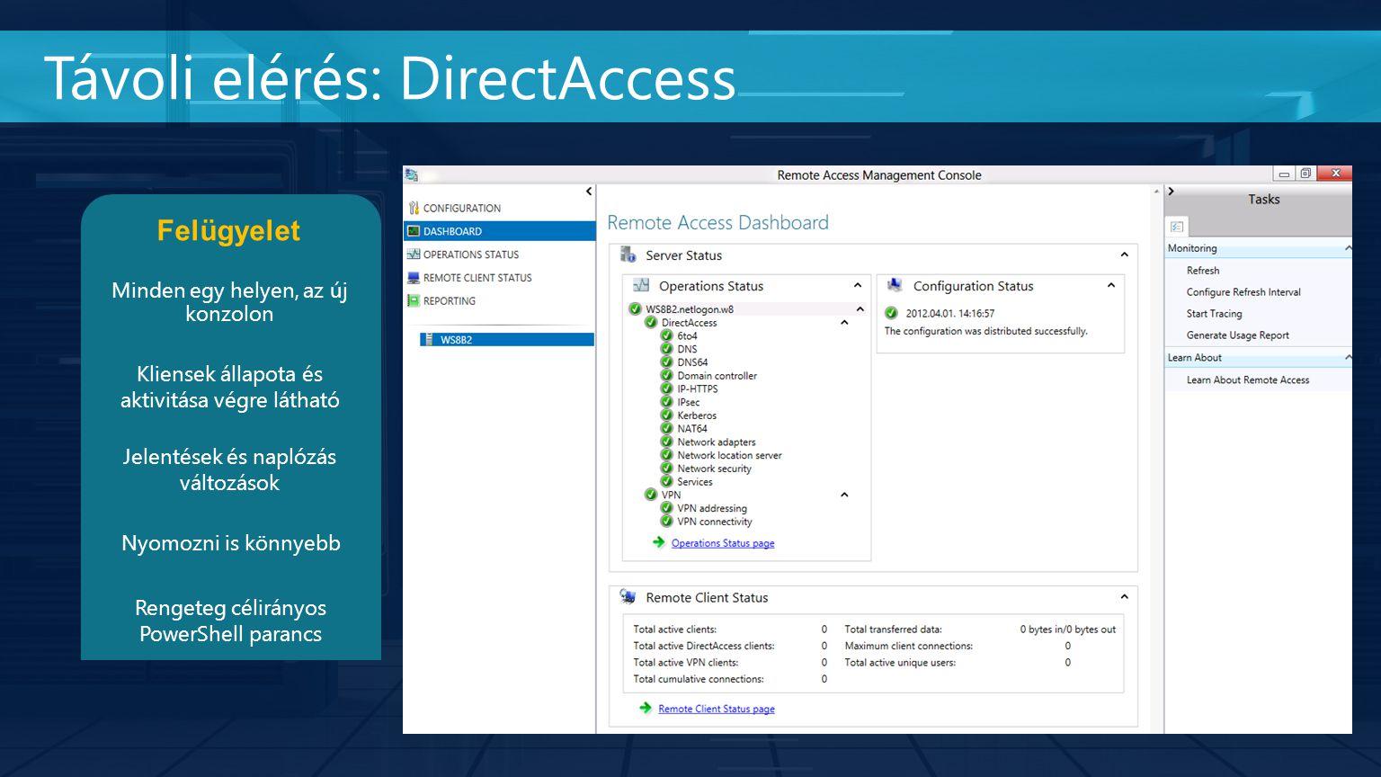Távoli elérés: DirectAccess Jelentések és naplózás változások Felügyelet Minden egy helyen, az új konzolon Kliensek állapota és aktivitása végre látható Rengeteg célirányos PowerShell parancs Nyomozni is könnyebb
