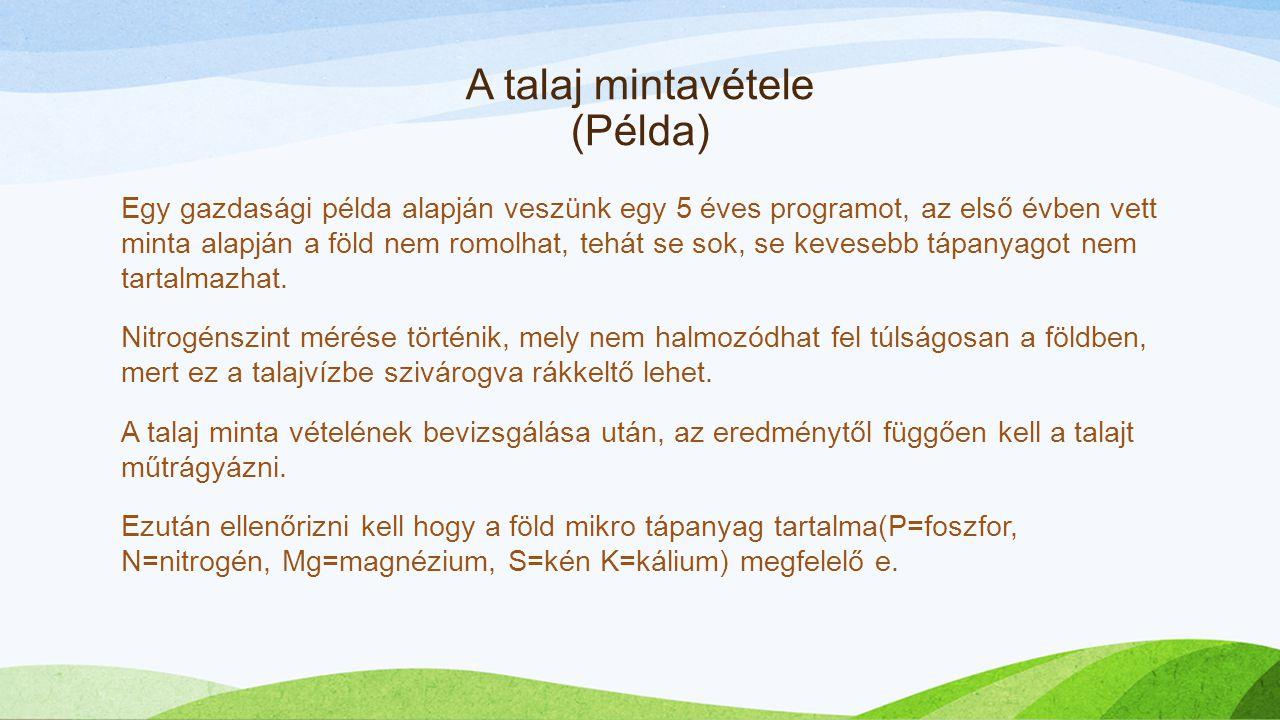 A talaj mintavétele (Példa) Egy gazdasági példa alapján veszünk egy 5 éves programot, az első évben vett minta alapján a föld nem romolhat, tehát se s