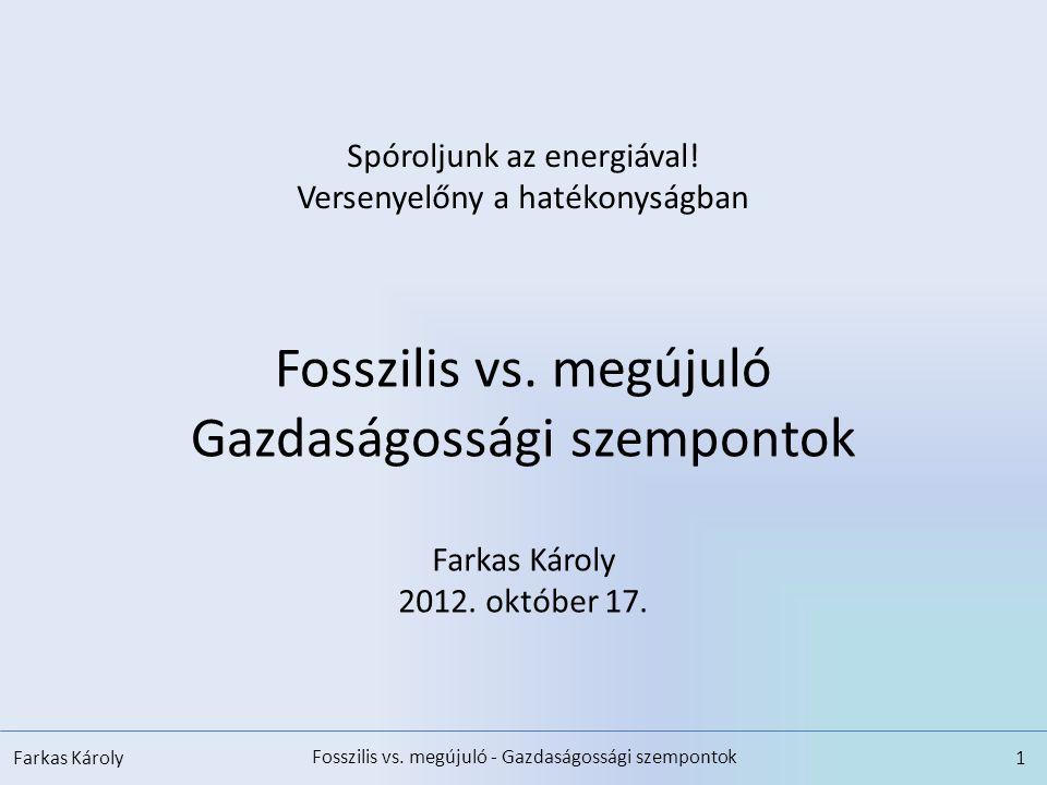 Fosszilis vs. megújuló - Gazdaságossági szempontok Farkas Károly1 Spóroljunk az energiával! Versenyelőny a hatékonyságban Fosszilis vs. megújuló Gazda