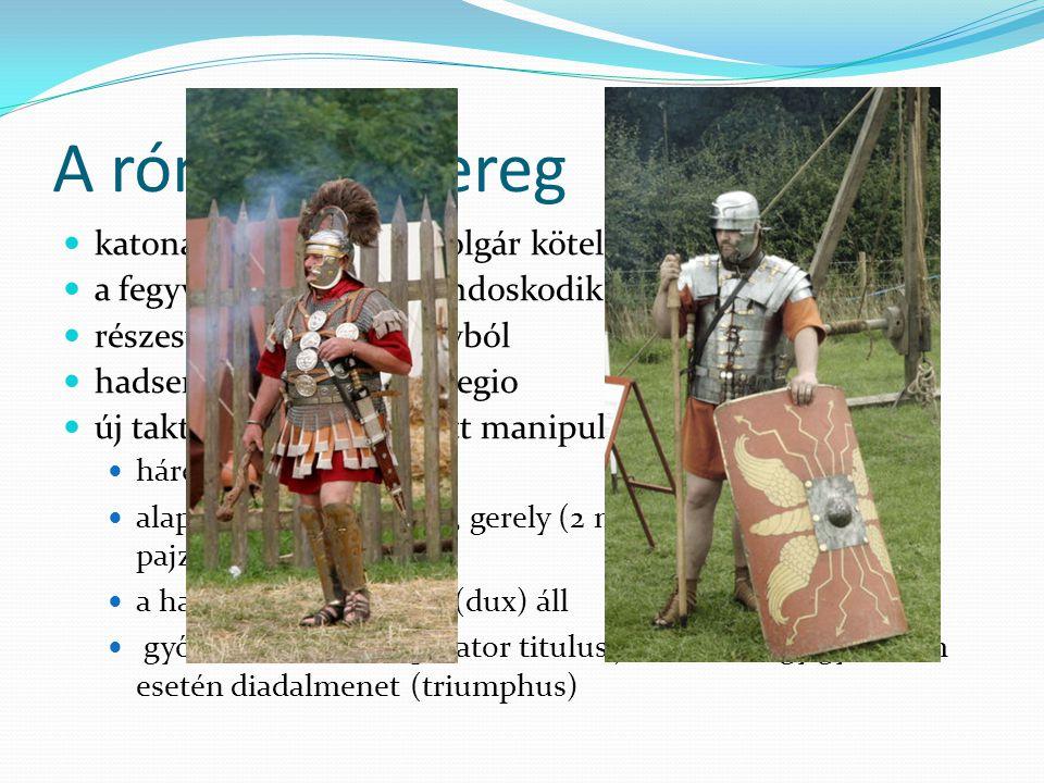 A római hadsereg katonáskodás a római polgár kötelessége a fegyverzetről maga gondoskodik részesül a hadizsákmányból hadsereg alapegysége a legio új t
