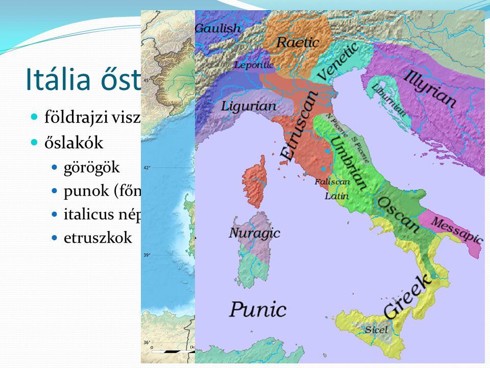 Itália őstörténete földrajzi viszonyok őslakók görögök punok (főniciaiak) italicus népek (latinok, samnisok, stb.) etruszkok