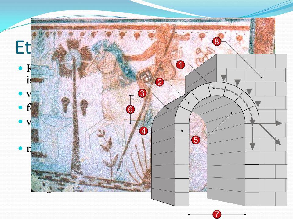 Etruszkok Kr.e. IX. századtól Itália északi részén telepednek meg, ismeretlen eredetűek (nincs nyelvrokonság) vas ismerete + kereskedelem fejlett váro