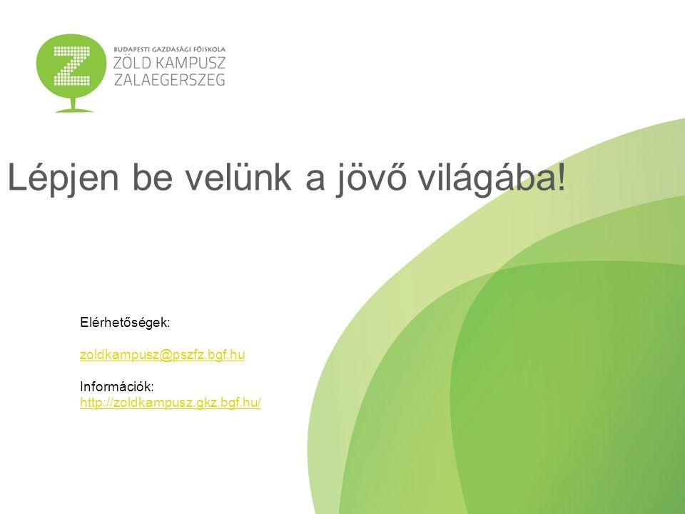 Lépjen be velünk a jövő világába! Elérhetőségek: zoldkampusz@pszfz.bgf.hu Információk: http://zoldkampusz.gkz.bgf.hu/