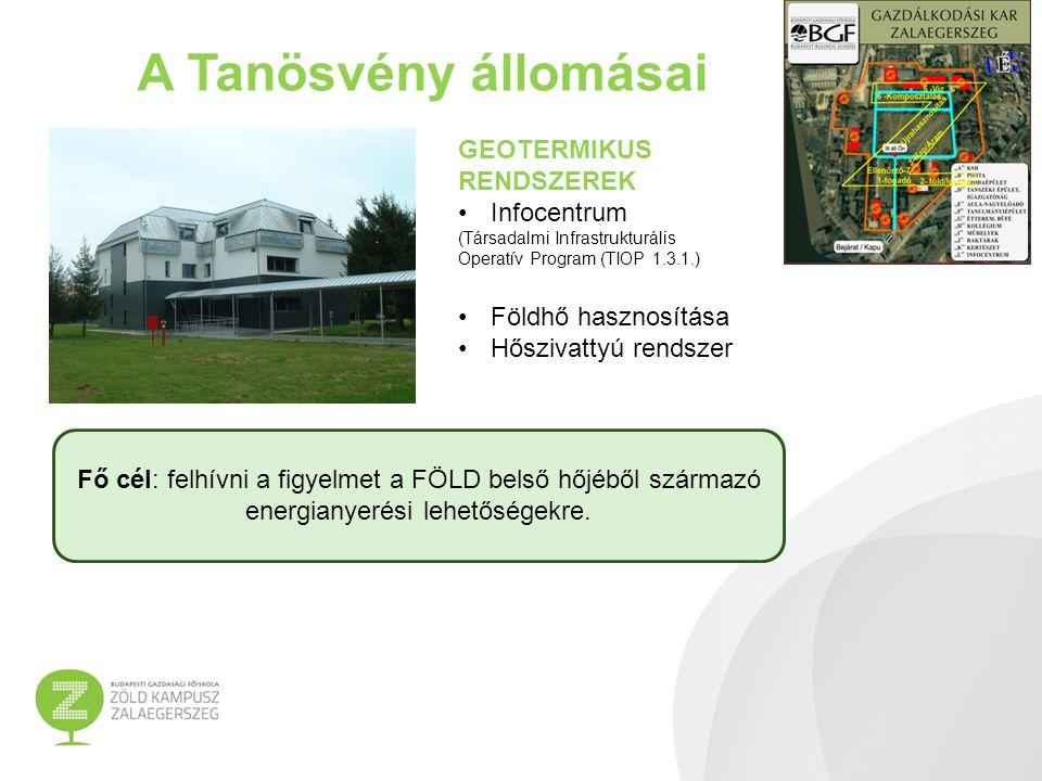 A Tanösvény állomásai ENERGIATAKARÉKOSSÁG Tanszéki épület Komplex energiahatékonysági megoldások Világító testek cseréje; Épületszigetelés; Nyílászáró csere Napkollektor (használati melegvíz) Hőfokszabályozó szelep Fő cél: felhívni a figyelmet az ENERGIATAKARÉKOSSÁG fontosságára, s bemutatni az épület energiafelhasználásának és az épület hőigényének csökkenését.