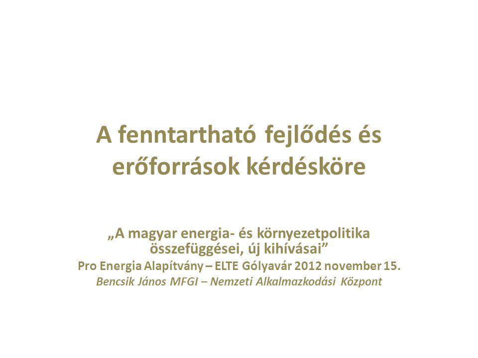 """A fenntartható fejlődés és erőforrások kérdésköre """"A magyar energia- és környezetpolitika összefüggései, új kihívásai"""" Pro Energia Alapítvány – ELTE G"""