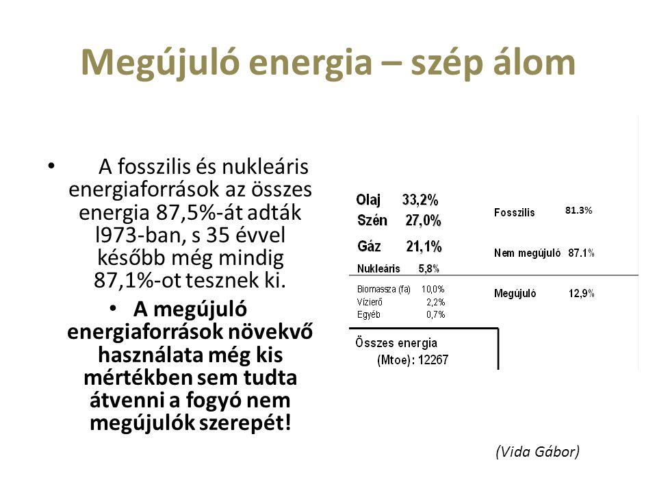Megújuló energia – szép álom A fosszilis és nukleáris energiaforrások az összes energia 87,5%-át adták l973-ban, s 35 évvel később még mindig 87,1%-ot