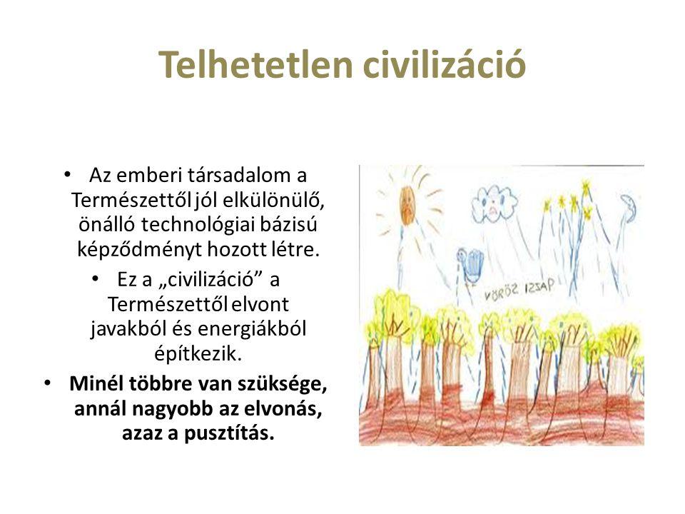 """Telhetetlen civilizáció Az emberi társadalom a Természettől jól elkülönülő, önálló technológiai bázisú képződményt hozott létre. Ez a """"civilizáció"""" a"""