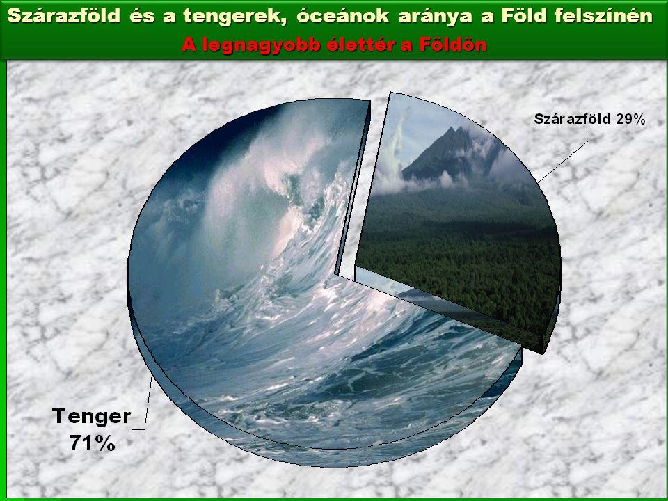 Szárazföld és a tengerek, óceánok aránya a Föld felszínén A legnagyobb élettér a Földön Szárazföld és a tengerek, óceánok aránya a Föld felszínén A le