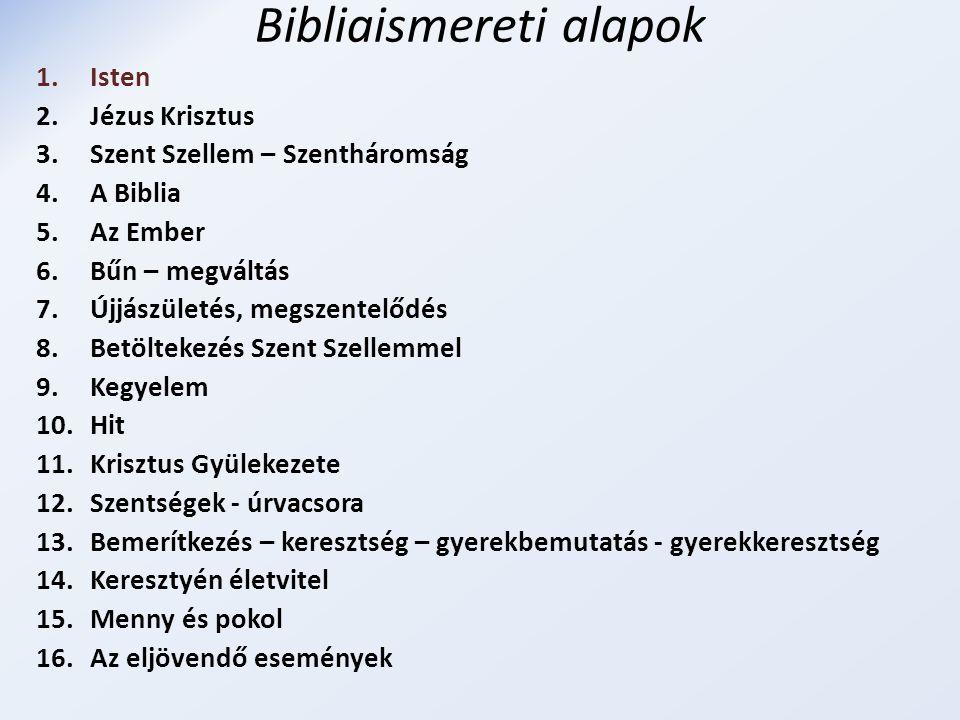 Bibliaismereti alapok 1.Isten 2.Jézus Krisztus 3.Szent Szellem – Szentháromság 4.A Biblia 5.Az Ember 6.Bűn – megváltás 7.Újjászületés, megszentelődés