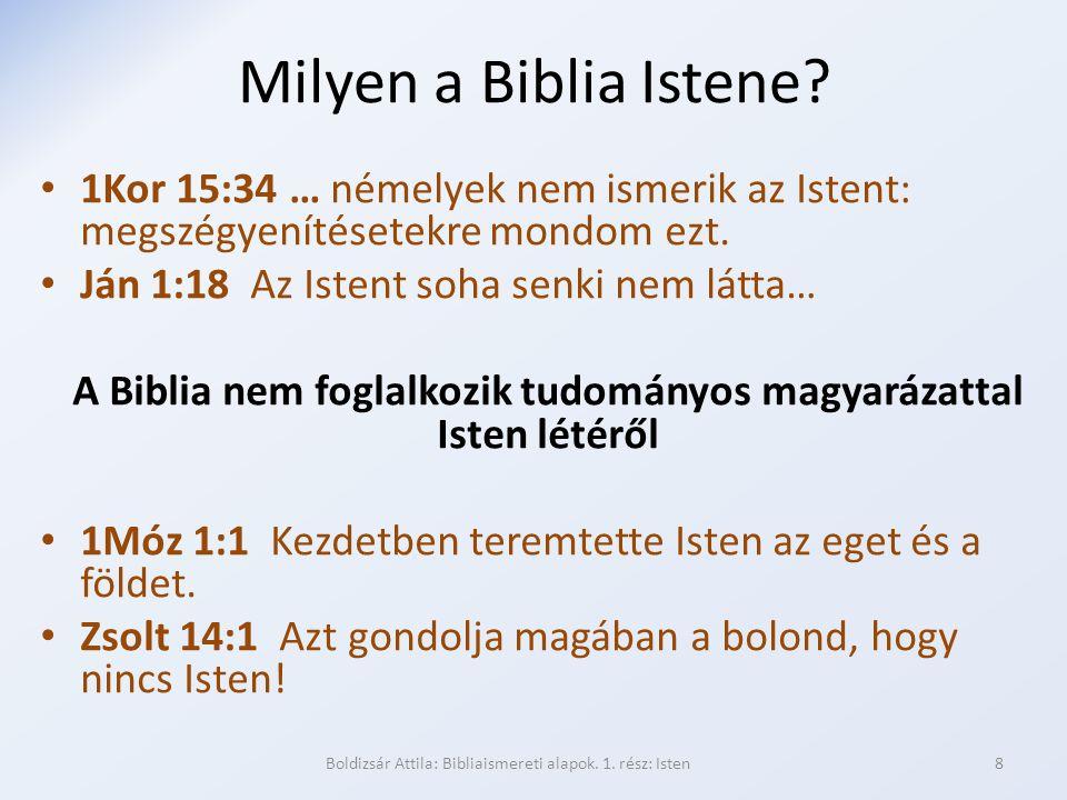 Milyen a Biblia Istene? 1Kor 15:34 … némelyek nem ismerik az Istent: megszégyenítésetekre mondom ezt. Ján 1:18 Az Istent soha senki nem látta… A Bibli