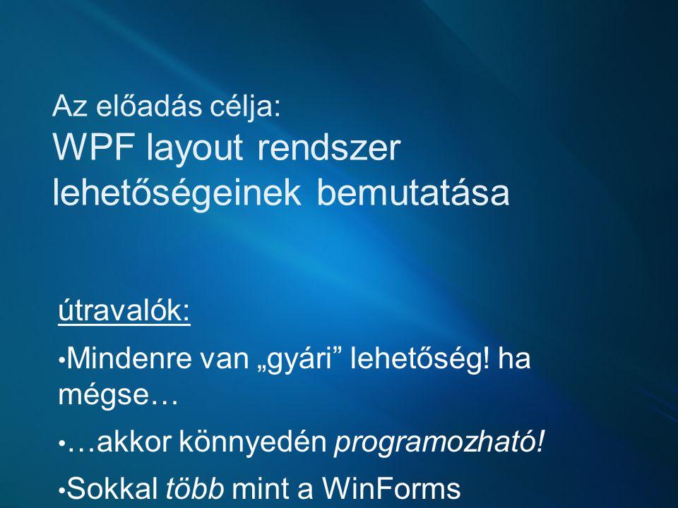 Az előadás célja: WPF layout rendszer lehetőségeinek bemutatása