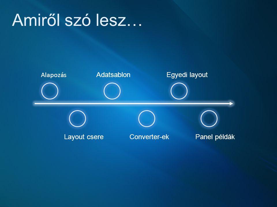 Amiről szó lesz… Alapozás Layout csere Converter-ek Adatsablon Egyedi layout Panel példák