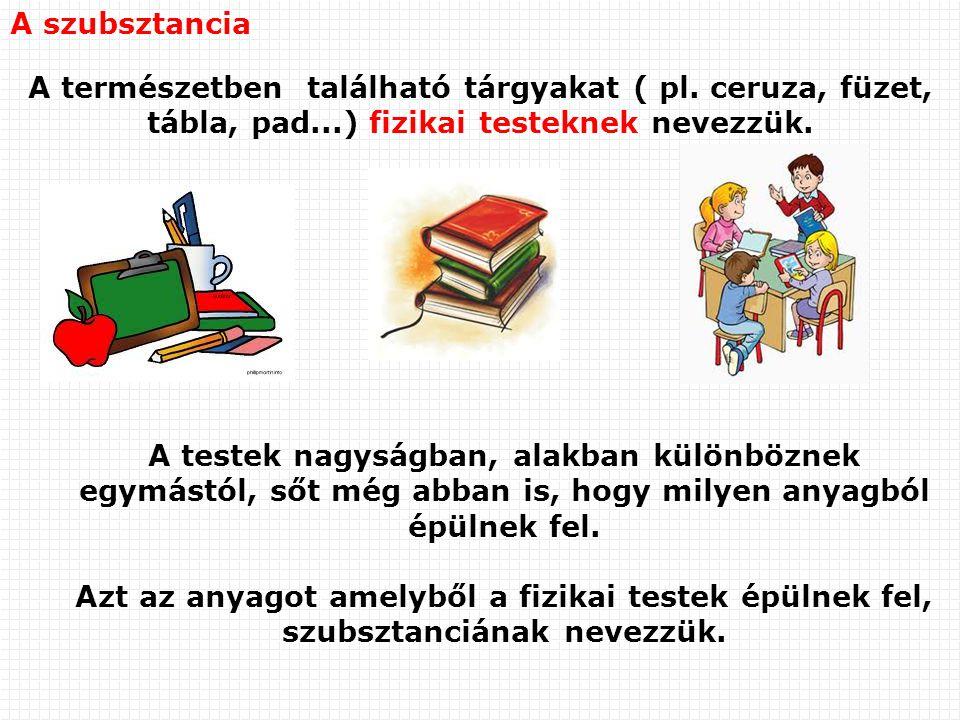 A szubsztancia A természetben található tárgyakat ( pl. ceruza, füzet, tábla, pad...) fizikai testeknek nevezzük. A testek nagyságban, alakban különbö