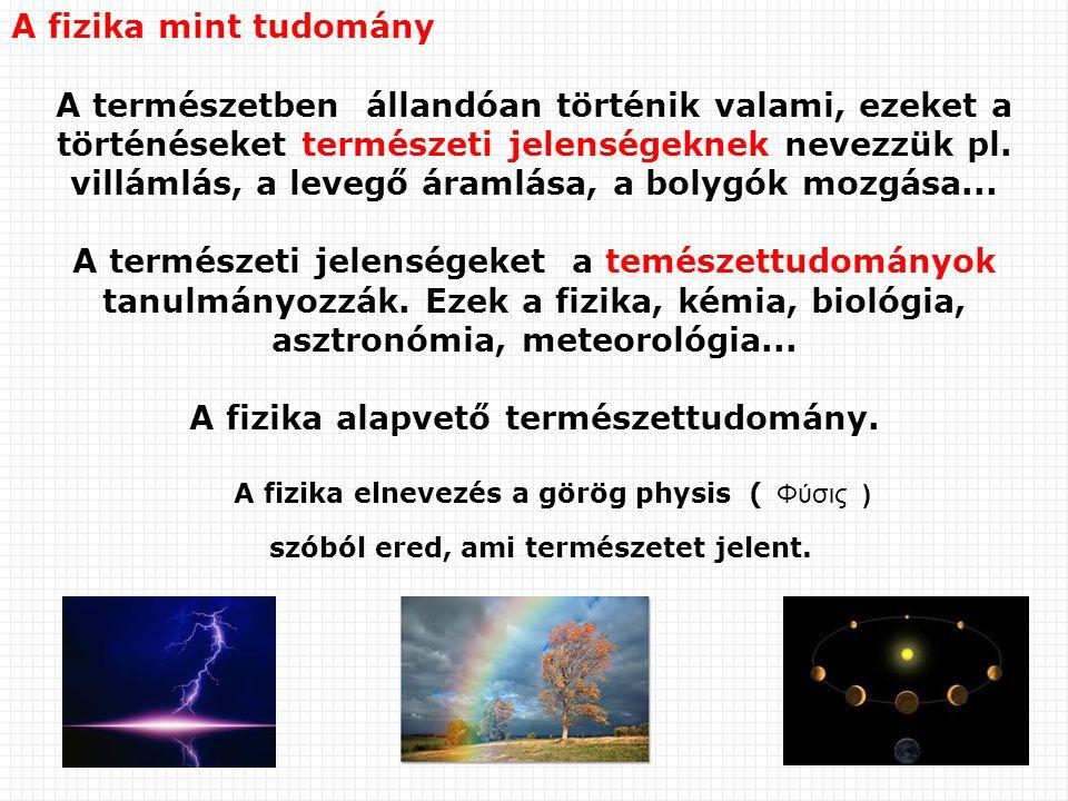 A fizika mint tudomány A természetben állandóan történik valami, ezeket a történéseket természeti jelenségeknek nevezzük pl. villámlás, a levegő áraml
