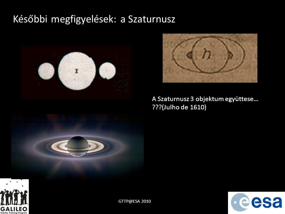 Későbbi megfigyelések: a Szaturnusz A Szaturnusz 3 objektum együttese… ???(Julho de 1610)