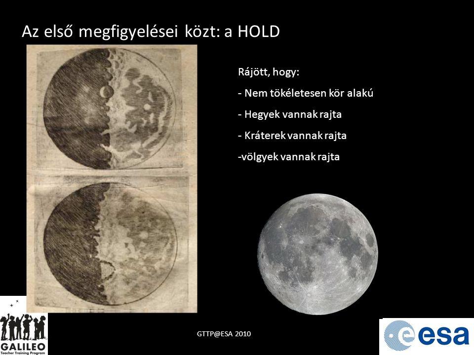 Rájött, hogy: - Nem tökéletesen kör alakú - Hegyek vannak rajta - Kráterek vannak rajta -völgyek vannak rajta Az első megfigyelései közt: a HOLD