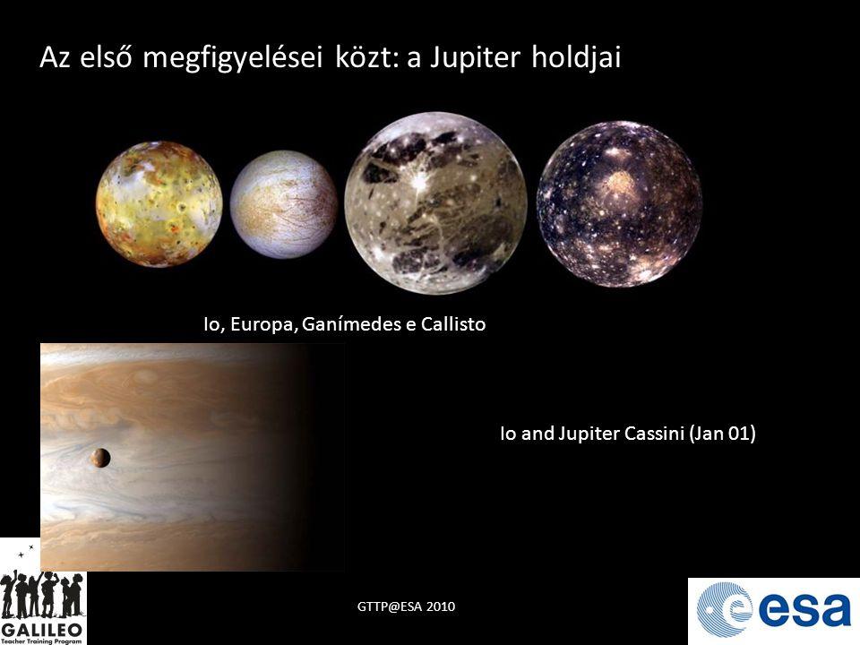 GTTP@ESA 2010 Io, Europa, Ganímedes e Callisto Io and Jupiter Cassini (Jan 01) Az első megfigyelései közt: a Jupiter holdjai