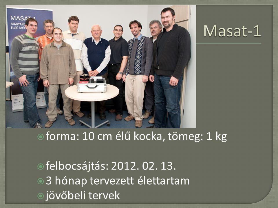 poláris pálya  forma: 10 cm élű kocka, tömeg: 1 kg  felbocsájtás: 2012. 02. 13.  3 hónap tervezett élettartam  jövőbeli tervek