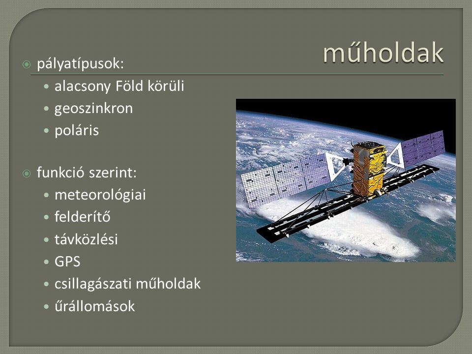  pályatípusok: alacsony Föld körüli geoszinkron poláris  funkció szerint: meteorológiai felderítő távközlési GPS csillagászati műholdak űrállomások